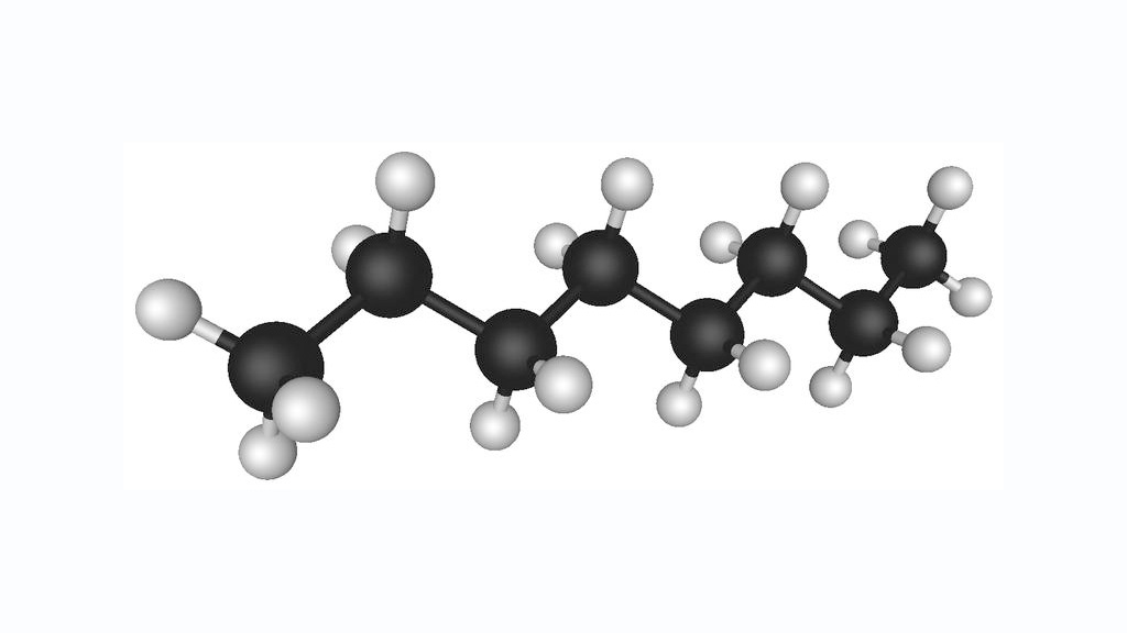 Octane's molecule. At room temperature it looks as a colorless liquid.
